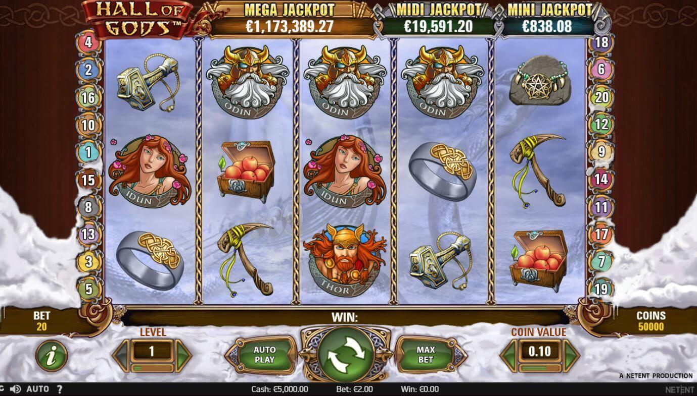 Hall of Gods on progressiivisesti jättipottia kasvattava kolikkopeli.